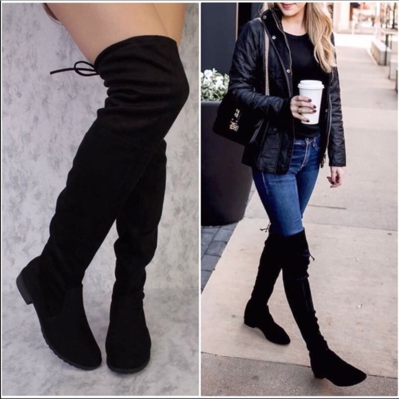 968b091b080 Above knee faux suede Tall Black women boots